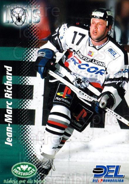 1999-00 German DEL #85 Jean-Marc Richard<br/>8 In Stock - $2.00 each - <a href=https://centericecollectibles.foxycart.com/cart?name=1999-00%20German%20DEL%20%2385%20Jean-Marc%20Richa...&quantity_max=8&price=$2.00&code=160790 class=foxycart> Buy it now! </a>