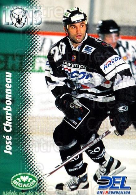 1999-00 German DEL #86 Jose Charbonneau<br/>6 In Stock - $2.00 each - <a href=https://centericecollectibles.foxycart.com/cart?name=1999-00%20German%20DEL%20%2386%20Jose%20Charbonnea...&quantity_max=6&price=$2.00&code=160791 class=foxycart> Buy it now! </a>
