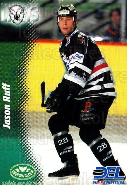 1999-00 German DEL #91 Jason Ruff<br/>9 In Stock - $2.00 each - <a href=https://centericecollectibles.foxycart.com/cart?name=1999-00%20German%20DEL%20%2391%20Jason%20Ruff...&quantity_max=9&price=$2.00&code=160797 class=foxycart> Buy it now! </a>
