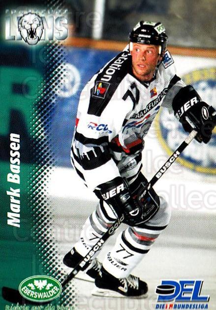 1999-00 German DEL #96 Mark Bassen<br/>9 In Stock - $2.00 each - <a href=https://centericecollectibles.foxycart.com/cart?name=1999-00%20German%20DEL%20%2396%20Mark%20Bassen...&quantity_max=9&price=$2.00&code=160802 class=foxycart> Buy it now! </a>