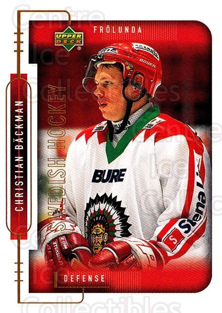 1999-00 Swedish Upper Deck #74 Christian Backman<br/>6 In Stock - $2.00 each - <a href=https://centericecollectibles.foxycart.com/cart?name=1999-00%20Swedish%20Upper%20Deck%20%2374%20Christian%20Backm...&quantity_max=6&price=$2.00&code=161128 class=foxycart> Buy it now! </a>
