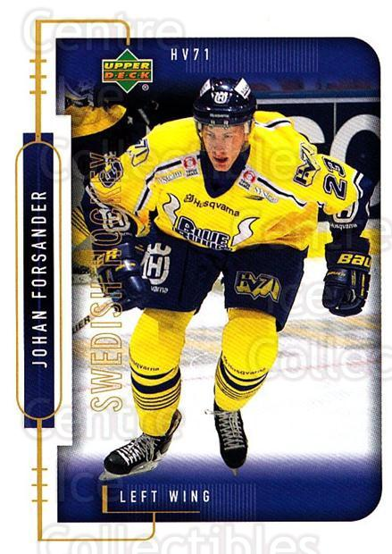1999-00 Swedish Upper Deck #94 Johan Forsander<br/>4 In Stock - $2.00 each - <a href=https://centericecollectibles.foxycart.com/cart?name=1999-00%20Swedish%20Upper%20Deck%20%2394%20Johan%20Forsander...&quantity_max=4&price=$2.00&code=161148 class=foxycart> Buy it now! </a>
