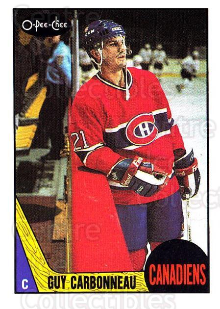 1987-88 O-Pee-Chee #232 Guy Carbonneau<br/>4 In Stock - $1.00 each - <a href=https://centericecollectibles.foxycart.com/cart?name=1987-88%20O-Pee-Chee%20%23232%20Guy%20Carbonneau...&quantity_max=4&price=$1.00&code=161 class=foxycart> Buy it now! </a>