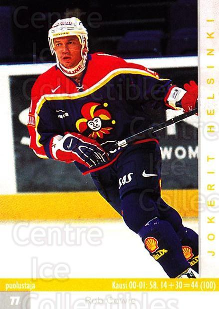 2001-02 Finnish Cardset #255 Rob Cowie<br/>2 In Stock - $2.00 each - <a href=https://centericecollectibles.foxycart.com/cart?name=2001-02%20Finnish%20Cardset%20%23255%20Rob%20Cowie...&price=$2.00&code=163141 class=foxycart> Buy it now! </a>
