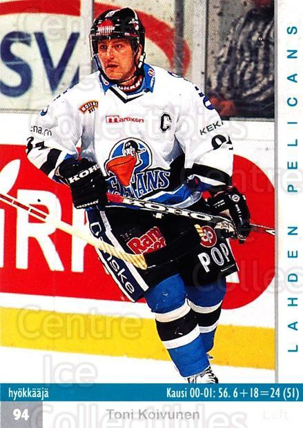 2001-02 Finnish Cardset #321 Toni Koivunen<br/>8 In Stock - $2.00 each - <a href=https://centericecollectibles.foxycart.com/cart?name=2001-02%20Finnish%20Cardset%20%23321%20Toni%20Koivunen...&quantity_max=8&price=$2.00&code=163214 class=foxycart> Buy it now! </a>