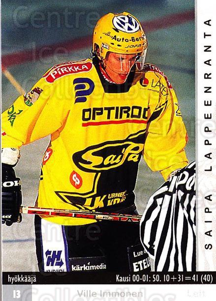 2001-02 Finnish Cardset #329 Ville Immonen<br/>7 In Stock - $2.00 each - <a href=https://centericecollectibles.foxycart.com/cart?name=2001-02%20Finnish%20Cardset%20%23329%20Ville%20Immonen...&quantity_max=7&price=$2.00&code=163221 class=foxycart> Buy it now! </a>