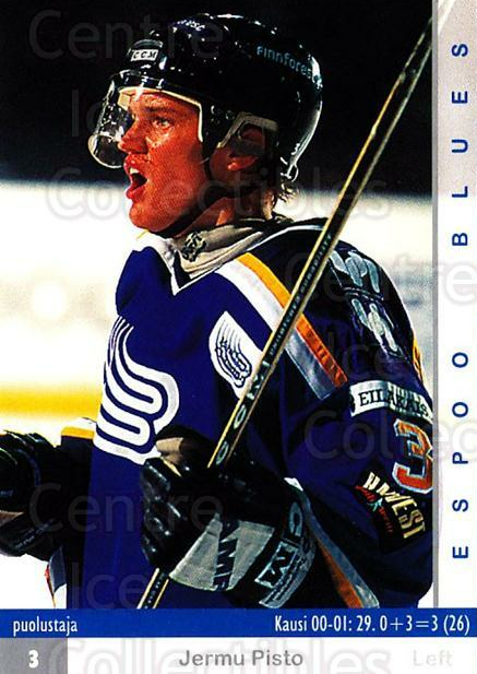 2001-02 Finnish Cardset #4 Jermu Pisto<br/>7 In Stock - $2.00 each - <a href=https://centericecollectibles.foxycart.com/cart?name=2001-02%20Finnish%20Cardset%20%234%20Jermu%20Pisto...&quantity_max=7&price=$2.00&code=163280 class=foxycart> Buy it now! </a>