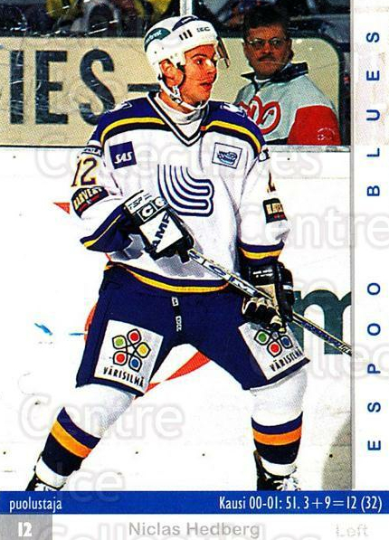 2001-02 Finnish Cardset #5 Niclas Hedberg<br/>9 In Stock - $2.00 each - <a href=https://centericecollectibles.foxycart.com/cart?name=2001-02%20Finnish%20Cardset%20%235%20Niclas%20Hedberg...&quantity_max=9&price=$2.00&code=163291 class=foxycart> Buy it now! </a>