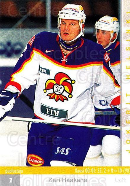 2001-02 Finnish Cardset #50 Kari Haakana<br/>3 In Stock - $2.00 each - <a href=https://centericecollectibles.foxycart.com/cart?name=2001-02%20Finnish%20Cardset%20%2350%20Kari%20Haakana...&price=$2.00&code=163292 class=foxycart> Buy it now! </a>