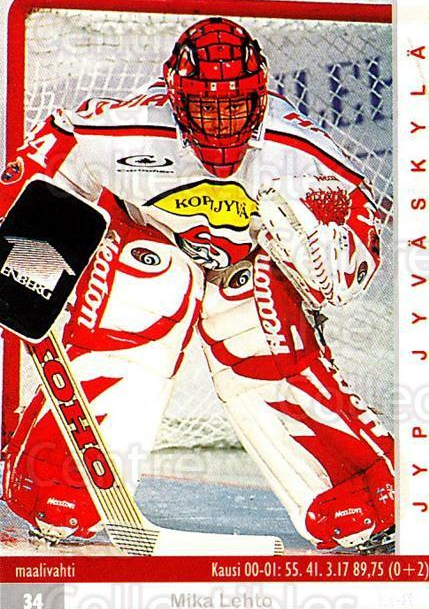 2001-02 Finnish Cardset #61 Mika Lehto<br/>7 In Stock - $2.00 each - <a href=https://centericecollectibles.foxycart.com/cart?name=2001-02%20Finnish%20Cardset%20%2361%20Mika%20Lehto...&price=$2.00&code=163304 class=foxycart> Buy it now! </a>