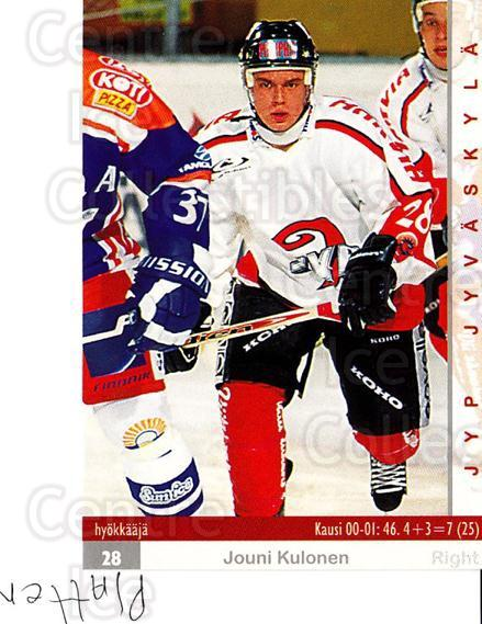2001-02 Finnish Cardset #68 Jouni Kulonen<br/>10 In Stock - $2.00 each - <a href=https://centericecollectibles.foxycart.com/cart?name=2001-02%20Finnish%20Cardset%20%2368%20Jouni%20Kulonen...&quantity_max=10&price=$2.00&code=163311 class=foxycart> Buy it now! </a>