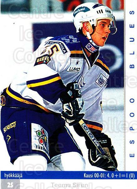 2001-02 Finnish Cardset #9 Teemu Siren<br/>7 In Stock - $2.00 each - <a href=https://centericecollectibles.foxycart.com/cart?name=2001-02%20Finnish%20Cardset%20%239%20Teemu%20Siren...&quantity_max=7&price=$2.00&code=163335 class=foxycart> Buy it now! </a>