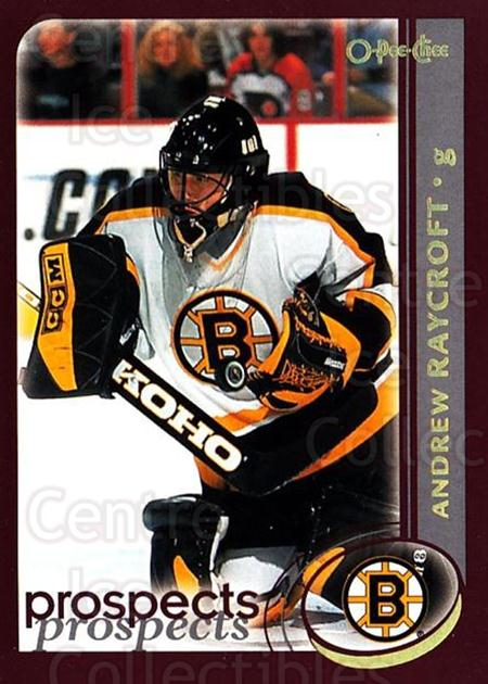 2002-03 O-Pee-Chee Factory #281 Andrew Raycroft<br/>7 In Stock - $1.00 each - <a href=https://centericecollectibles.foxycart.com/cart?name=2002-03%20O-Pee-Chee%20Factory%20%23281%20Andrew%20Raycroft...&quantity_max=7&price=$1.00&code=164033 class=foxycart> Buy it now! </a>