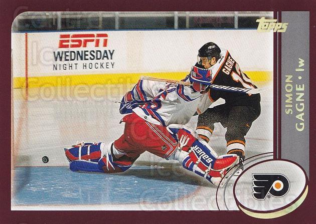 2002-03 Topps Factory #97 Simon Gagne<br/>6 In Stock - $1.00 each - <a href=https://centericecollectibles.foxycart.com/cart?name=2002-03%20Topps%20Factory%20%2397%20Simon%20Gagne...&quantity_max=6&price=$1.00&code=164454 class=foxycart> Buy it now! </a>