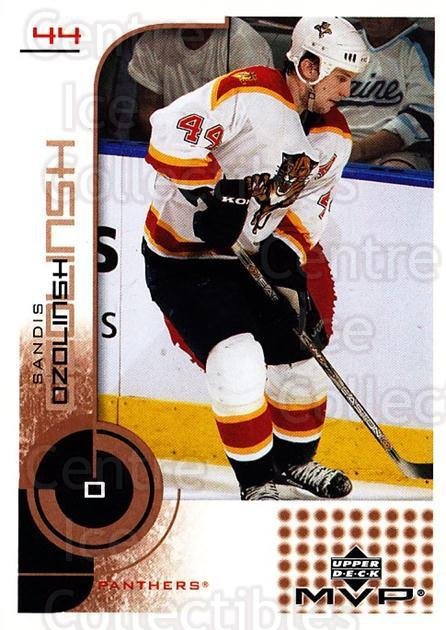 2002-03 Upper Deck MVP #80 Sandis Ozolinsh<br/>12 In Stock - $1.00 each - <a href=https://centericecollectibles.foxycart.com/cart?name=2002-03%20Upper%20Deck%20MVP%20%2380%20Sandis%20Ozolinsh...&quantity_max=12&price=$1.00&code=164507 class=foxycart> Buy it now! </a>