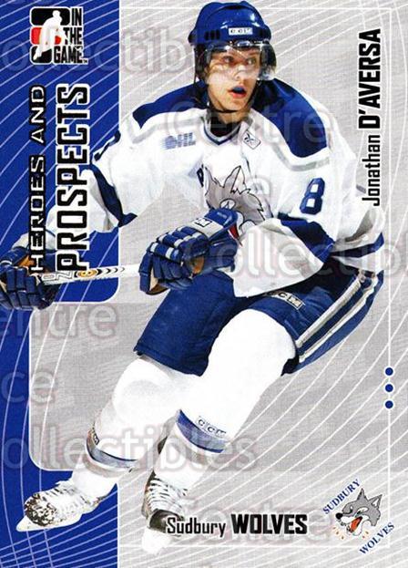 2005-06 ITG Heroes and Prospects #291 Jonathan D'Aversa<br/>2 In Stock - $1.00 each - <a href=https://centericecollectibles.foxycart.com/cart?name=2005-06%20ITG%20Heroes%20and%20Prospects%20%23291%20Jonathan%20D'Aver...&price=$1.00&code=166296 class=foxycart> Buy it now! </a>
