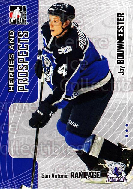 2005-06 ITG Heroes and Prospects #72 Jay Bouwmeester<br/>19 In Stock - $1.00 each - <a href=https://centericecollectibles.foxycart.com/cart?name=2005-06%20ITG%20Heroes%20and%20Prospects%20%2372%20Jay%20Bouwmeester...&price=$1.00&code=166468 class=foxycart> Buy it now! </a>