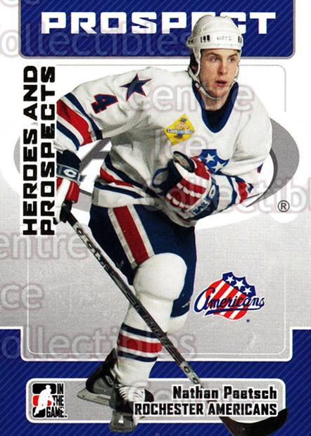 2006-07 ITG Heroes and Prospects #68 Nathan Paetsch<br/>14 In Stock - $1.00 each - <a href=https://centericecollectibles.foxycart.com/cart?name=2006-07%20ITG%20Heroes%20and%20Prospects%20%2368%20Nathan%20Paetsch...&price=$1.00&code=167324 class=foxycart> Buy it now! </a>