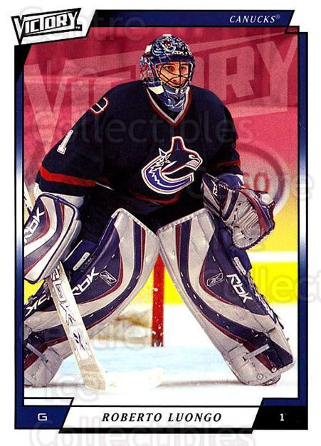 2006-07 UD Victory #279 Roberto Luongo<br/>4 In Stock - $2.00 each - <a href=https://centericecollectibles.foxycart.com/cart?name=2006-07%20UD%20Victory%20%23279%20Roberto%20Luongo...&quantity_max=4&price=$2.00&code=168159 class=foxycart> Buy it now! </a>