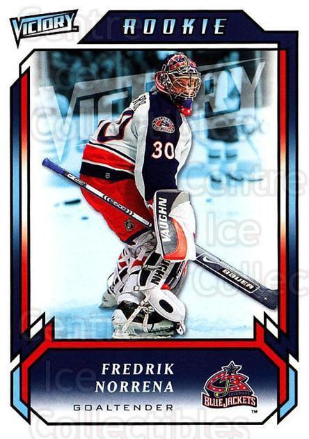 2006-07 UD Victory #288 Fredrik Norrena<br/>4 In Stock - $2.00 each - <a href=https://centericecollectibles.foxycart.com/cart?name=2006-07%20UD%20Victory%20%23288%20Fredrik%20Norrena...&quantity_max=4&price=$2.00&code=168168 class=foxycart> Buy it now! </a>