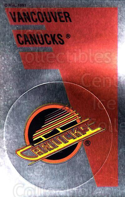 1991-92 Panini Stickers #157 Vancouver Canucks<br/>3 In Stock - $1.00 each - <a href=https://centericecollectibles.foxycart.com/cart?name=1991-92%20Panini%20Stickers%20%23157%20Vancouver%20Canuc...&quantity_max=3&price=$1.00&code=16818 class=foxycart> Buy it now! </a>