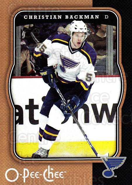 2007-08 O-Pee-Chee #425 Christian Backman<br/>4 In Stock - $1.00 each - <a href=https://centericecollectibles.foxycart.com/cart?name=2007-08%20O-Pee-Chee%20%23425%20Christian%20Backm...&quantity_max=4&price=$1.00&code=168681 class=foxycart> Buy it now! </a>