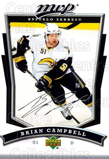 2007-08 Upper Deck MVP #244 Brian Campbell<br/>5 In Stock - $1.00 each - <a href=https://centericecollectibles.foxycart.com/cart?name=2007-08%20Upper%20Deck%20MVP%20%23244%20Brian%20Campbell...&quantity_max=5&price=$1.00&code=168876 class=foxycart> Buy it now! </a>