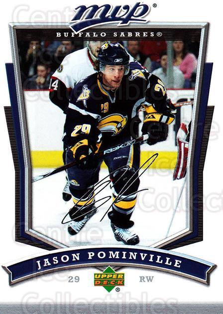 2007-08 Upper Deck MVP #249 Jason Pominville<br/>5 In Stock - $1.00 each - <a href=https://centericecollectibles.foxycart.com/cart?name=2007-08%20Upper%20Deck%20MVP%20%23249%20Jason%20Pominvill...&quantity_max=5&price=$1.00&code=168881 class=foxycart> Buy it now! </a>