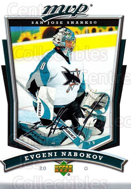 2007-08 Upper Deck MVP #263 Evgeni Nabokov<br/>5 In Stock - $1.00 each - <a href=https://centericecollectibles.foxycart.com/cart?name=2007-08%20Upper%20Deck%20MVP%20%23263%20Evgeni%20Nabokov...&quantity_max=5&price=$1.00&code=168897 class=foxycart> Buy it now! </a>