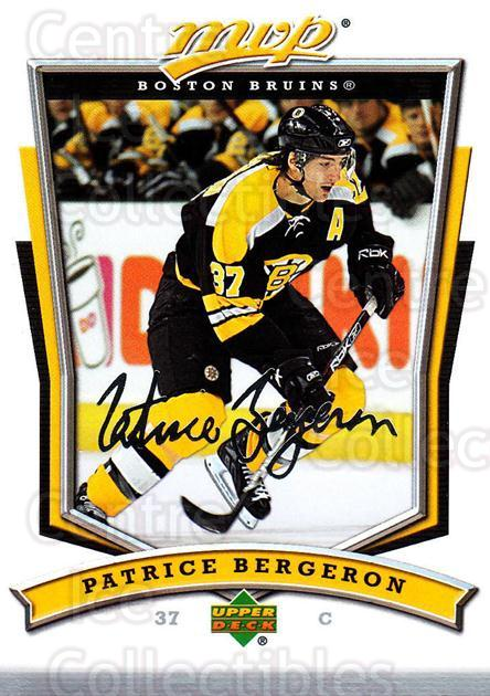 2007-08 Upper Deck MVP #41 Patrice Bergeron<br/>4 In Stock - $2.00 each - <a href=https://centericecollectibles.foxycart.com/cart?name=2007-08%20Upper%20Deck%20MVP%20%2341%20Patrice%20Bergero...&quantity_max=4&price=$2.00&code=169000 class=foxycart> Buy it now! </a>
