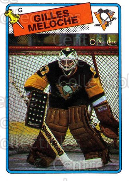 1988-89 O-Pee-Chee #8 Gilles Meloche<br/>9 In Stock - $1.00 each - <a href=https://centericecollectibles.foxycart.com/cart?name=1988-89%20O-Pee-Chee%20%238%20Gilles%20Meloche...&quantity_max=9&price=$1.00&code=169368 class=foxycart> Buy it now! </a>