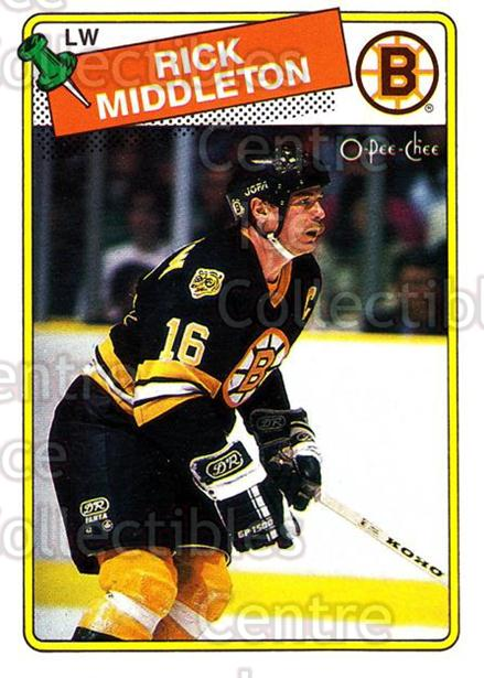 1988-89 O-Pee-Chee #87 Rick Middleton<br/>10 In Stock - $1.00 each - <a href=https://centericecollectibles.foxycart.com/cart?name=1988-89%20O-Pee-Chee%20%2387%20Rick%20Middleton...&quantity_max=10&price=$1.00&code=169376 class=foxycart> Buy it now! </a>