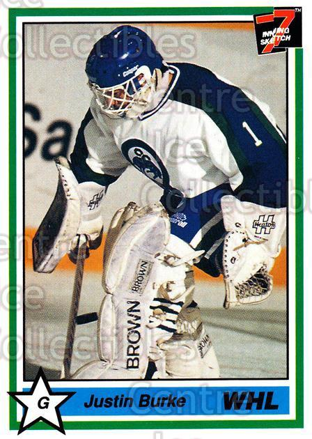 1990-91 7th Inning Sketch WHL #63 Justin Burke<br/>6 In Stock - $1.00 each - <a href=https://centericecollectibles.foxycart.com/cart?name=1990-91%207th%20Inning%20Sketch%20WHL%20%2363%20Justin%20Burke...&quantity_max=6&price=$1.00&code=169607 class=foxycart> Buy it now! </a>