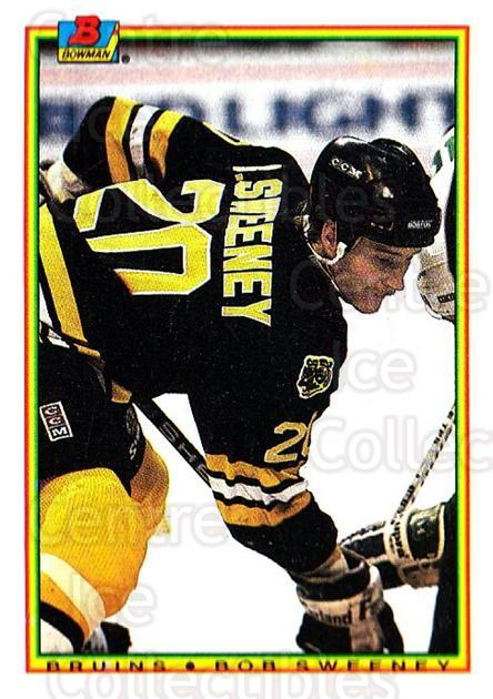 1990-91 Bowman #28 Bob Sweeney<br/>6 In Stock - $1.00 each - <a href=https://centericecollectibles.foxycart.com/cart?name=1990-91%20Bowman%20%2328%20Bob%20Sweeney...&quantity_max=6&price=$1.00&code=169682 class=foxycart> Buy it now! </a>