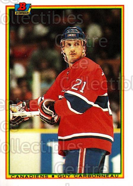 1990-91 Bowman Tiffany #44 Guy Carbonneau<br/>11 In Stock - $2.00 each - <a href=https://centericecollectibles.foxycart.com/cart?name=1990-91%20Bowman%20Tiffany%20%2344%20Guy%20Carbonneau...&quantity_max=11&price=$2.00&code=169821 class=foxycart> Buy it now! </a>