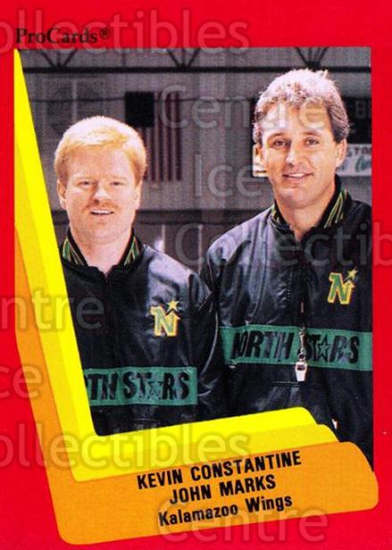 1990-91 ProCards AHL IHL #121 Kevin Constantine, John Marks<br/>16 In Stock - $2.00 each - <a href=https://centericecollectibles.foxycart.com/cart?name=1990-91%20ProCards%20AHL%20IHL%20%23121%20Kevin%20Constanti...&quantity_max=16&price=$2.00&code=170396 class=foxycart> Buy it now! </a>