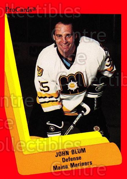 1990-91 ProCards AHL IHL #128 John Blum<br/>1 In Stock - $2.00 each - <a href=https://centericecollectibles.foxycart.com/cart?name=1990-91%20ProCards%20AHL%20IHL%20%23128%20John%20Blum...&quantity_max=1&price=$2.00&code=170403 class=foxycart> Buy it now! </a>