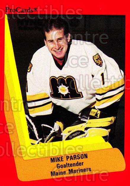 1990-91 ProCards AHL IHL #129 Mike Parson<br/>17 In Stock - $2.00 each - <a href=https://centericecollectibles.foxycart.com/cart?name=1990-91%20ProCards%20AHL%20IHL%20%23129%20Mike%20Parson...&quantity_max=17&price=$2.00&code=170404 class=foxycart> Buy it now! </a>