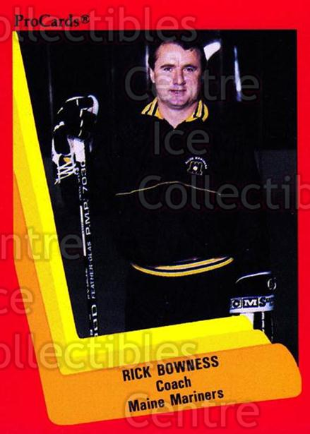 1990-91 ProCards AHL IHL #143 Rick Bowness<br/>21 In Stock - $2.00 each - <a href=https://centericecollectibles.foxycart.com/cart?name=1990-91%20ProCards%20AHL%20IHL%20%23143%20Rick%20Bowness...&price=$2.00&code=170419 class=foxycart> Buy it now! </a>