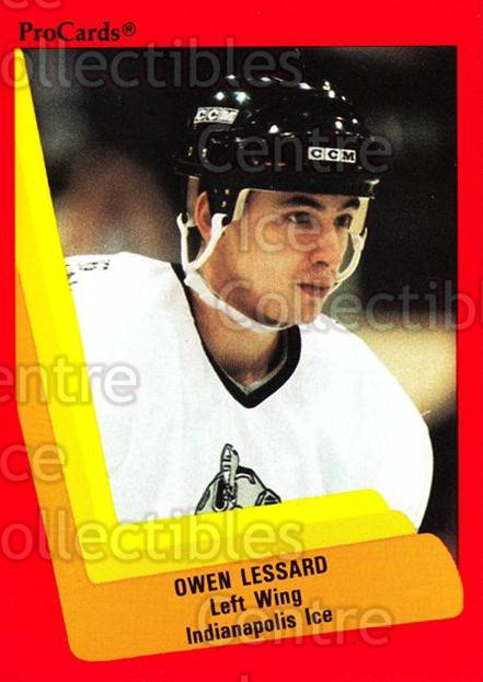 1990-91 ProCards AHL IHL #405 Owen Lessard<br/>11 In Stock - $2.00 each - <a href=https://centericecollectibles.foxycart.com/cart?name=1990-91%20ProCards%20AHL%20IHL%20%23405%20Owen%20Lessard...&quantity_max=11&price=$2.00&code=170692 class=foxycart> Buy it now! </a>