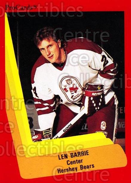 1990-91 ProCards AHL IHL #49 Len Barrie<br/>22 In Stock - $2.00 each - <a href=https://centericecollectibles.foxycart.com/cart?name=1990-91%20ProCards%20AHL%20IHL%20%2349%20Len%20Barrie...&quantity_max=22&price=$2.00&code=170781 class=foxycart> Buy it now! </a>