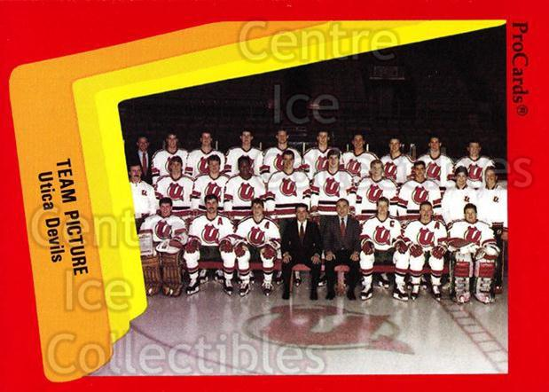 1990-91 ProCards AHL IHL #580 Utica Devils, Team Photo<br/>22 In Stock - $2.00 each - <a href=https://centericecollectibles.foxycart.com/cart?name=1990-91%20ProCards%20AHL%20IHL%20%23580%20Utica%20Devils,%20T...&price=$2.00&code=170881 class=foxycart> Buy it now! </a>
