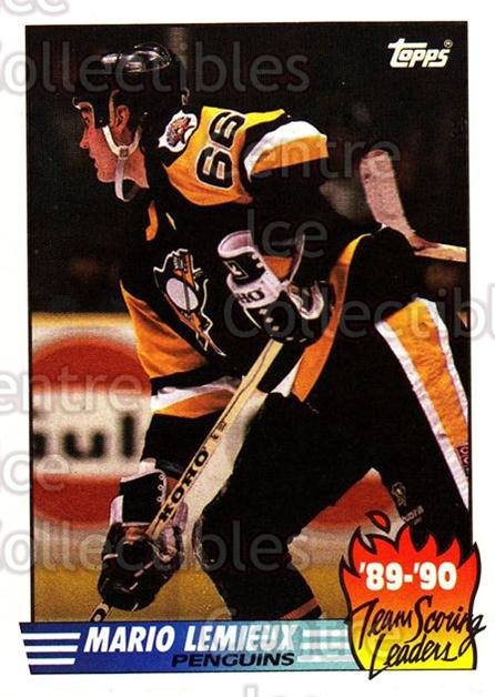1990-91 Topps Team Scoring Leaders #17 Mario Lemieux<br/>7 In Stock - $2.00 each - <a href=https://centericecollectibles.foxycart.com/cart?name=1990-91%20Topps%20Team%20Scoring%20Leaders%20%2317%20Mario%20Lemieux...&price=$2.00&code=17162 class=foxycart> Buy it now! </a>