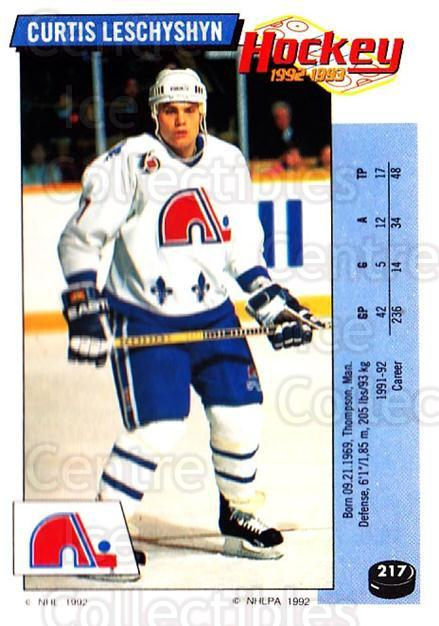 1992-93 Panini Stickers #217 Curtis Leschyshyn<br/>6 In Stock - $1.00 each - <a href=https://centericecollectibles.foxycart.com/cart?name=1992-93%20Panini%20Stickers%20%23217%20Curtis%20Leschysh...&quantity_max=6&price=$1.00&code=175613 class=foxycart> Buy it now! </a>