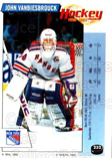 1992-93 Panini Stickers #232 John Vanbiesbrouck<br/>3 In Stock - $1.00 each - <a href=https://centericecollectibles.foxycart.com/cart?name=1992-93%20Panini%20Stickers%20%23232%20John%20Vanbiesbro...&quantity_max=3&price=$1.00&code=175629 class=foxycart> Buy it now! </a>