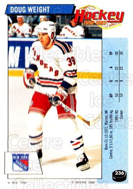 1992-93 Panini Stickers #236 Doug Weight<br/>2 In Stock - $1.00 each - <a href=https://centericecollectibles.foxycart.com/cart?name=1992-93%20Panini%20Stickers%20%23236%20Doug%20Weight...&quantity_max=2&price=$1.00&code=175633 class=foxycart> Buy it now! </a>