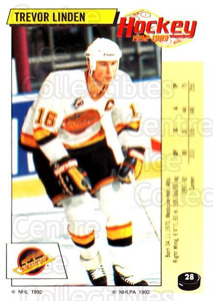 1992-93 Panini Stickers #28 Trevor Linden<br/>3 In Stock - $1.00 each - <a href=https://centericecollectibles.foxycart.com/cart?name=1992-93%20Panini%20Stickers%20%2328%20Trevor%20Linden...&quantity_max=3&price=$1.00&code=175678 class=foxycart> Buy it now! </a>