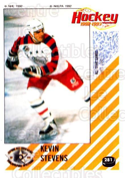 1992-93 Panini Stickers #281 Kevin Stevens<br/>5 In Stock - $1.00 each - <a href=https://centericecollectibles.foxycart.com/cart?name=1992-93%20Panini%20Stickers%20%23281%20Kevin%20Stevens...&quantity_max=5&price=$1.00&code=175679 class=foxycart> Buy it now! </a>
