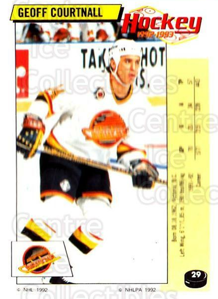 1992-93 Panini Stickers #29 Geoff Courtnall<br/>7 In Stock - $1.00 each - <a href=https://centericecollectibles.foxycart.com/cart?name=1992-93%20Panini%20Stickers%20%2329%20Geoff%20Courtnall...&quantity_max=7&price=$1.00&code=175684 class=foxycart> Buy it now! </a>
