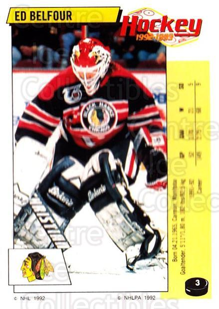 1992-93 Panini Stickers #3 Ed Belfour<br/>1 In Stock - $2.00 each - <a href=https://centericecollectibles.foxycart.com/cart?name=1992-93%20Panini%20Stickers%20%233%20Ed%20Belfour...&price=$2.00&code=175690 class=foxycart> Buy it now! </a>